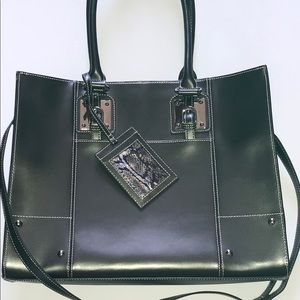 Wilson Leather slightly  black and gray tote bag